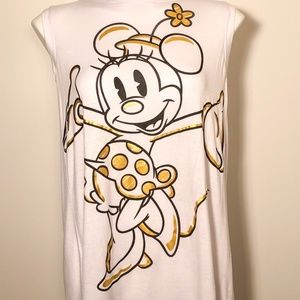 Disney Gold and Black Minnie Mouse White Top